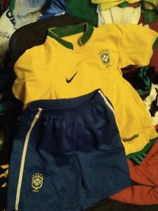 LOT RARE JERSEY Nike shirt shorts Brazil soccer football pants Boys M 152 2XL