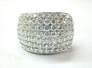 Wide Round Diamond Ring 18Kt White Gold 14.7mm 4.50Ct F-VVS2