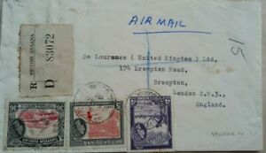 BRITISH GUIANA 1960 REGISTERED AIRMAIL COVER TO ENGLAND WITH VENDOR IV POSTMARK