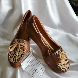 Sbicca Mocassin Tan 6M Women Leather & Hide Hair Leopard Deck Shoe Rubber Sole