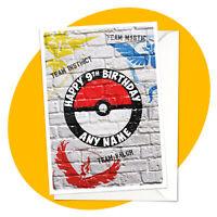Pokeball Go PERSONALISED BIRTHDAY CARD - Valor Mystic pokemon personalized gamer
