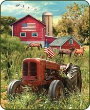 RED TRACTOR FARM Full Queen BLANKET : COUNTRY AMERICAN FLAG BARN FAUX FUR THROW