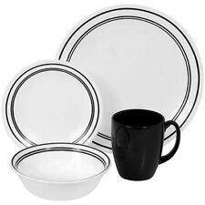 Black Classic Corelle Dinnerware 16 Pieces Set w/ Plates Mugs Bowls For 4 NEW