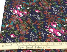 """Polyester Crepe Jacquard, Berries & Flowers on Navy, 45"""" w, 3 yd. Pc."""