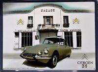 PLAQUE METAL vintage auto rétro CITROËN DS 19 - 40 X 30 CM