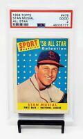 1958 Topps All Star Cardinals STAN MUSIAL Vintage Baseball Card PSA 2 GOOD