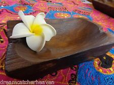 BEAUTIFUL RUSTIC UNUSUAL HAND MADE RECYCLED TEAK DISH PLATE BOWL RRP $25