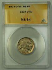 1934-D US Buffalo Nickel 5c Coin ANACS MS-64 Very Choice