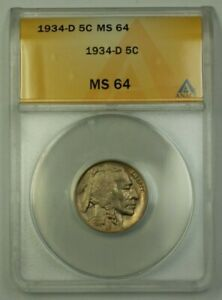 1934-D US Buffalo Nickel 5c Coin ANACS MS-64 Very Choice