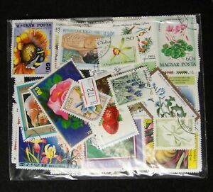 Worldwide Cancelled Stamps 190-200 Pieces in Different -- Flower and Fruit