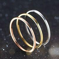 1mm Titanium Steel Band Men Womens Silver/Gold/Rose Gold/Black Tail Ring Sz 4-11