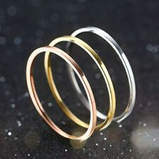 1mm Titanium Steel Band Men Womens Silver/Gold/Rose Gold/Black Tail Ring Sz 4-10