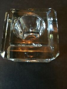Vintage Heavy Glass/Crystal Beveled Square Inkwell in Wood Box