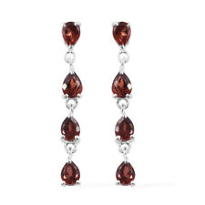 925 Sterling Silver Pear Garnet Tear Drop Dangling Earrings Cttw 1.7