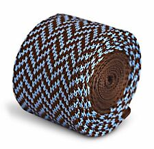 Frederick Thomas Knitted Skinny Chocolate Brown and Blue Herringbone Tie FT3294
