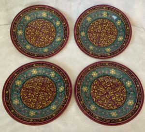 Four (4) 222 Fifth KASHMIR Porcelain Fine China Salad / Dessert Plates