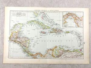 1895 Map of The West Indies Caribbean Bahamas Honduras 19th Century Victorian