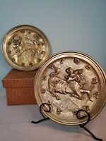 Vintage Peerage Brass England Stamped Horoscope Taurus +  Aries(2) Wall Decor