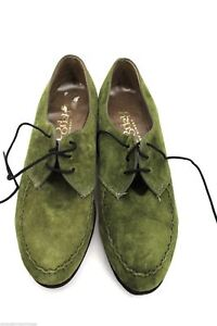 Vtg 1960s Kinneys Porky's Green Suede Oxfords Shoes Womens  Pointed Toes 7 M
