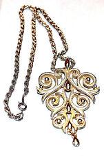 Vintage Lisner Large Pendant Gold Tone Necklace   1960    (RARE)