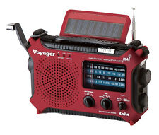 Voyager Hand Crank & Solar-Powered Emergency Radio: Red