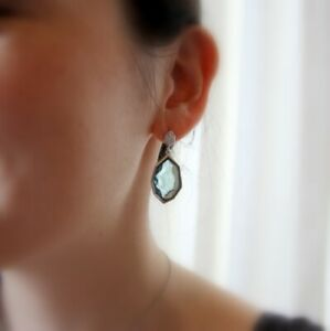 Iceberg Blue Diamonte Sterling Silver Earrings