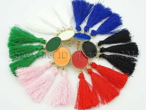 Colorful Cotton Silky Silk Round Trim Tassel Pendant Gold Plated Earrings Set