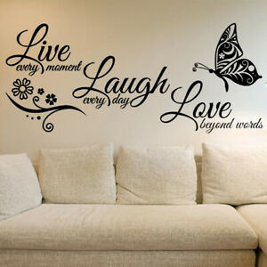 Removable Word Art Wall Sticker Quote Mural Home Kitchen Decal Room Decor NEW