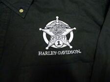 HARLEY DAVIDSON SHERIFF BUTTON UP POCKET L/S BLACK DENIM SHIRT (L)