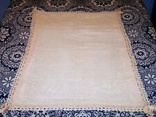 """SPECTACULAR ANTIQUE FILET CROCHETED CRIB COVERLET, QUILT DATED 1908, """"RUTH ANNA"""""""