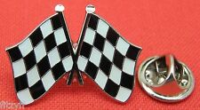 Chequered Black & White Flag Lapel Hat Tie Cap Pin Badge Car Motor Racing Brooch