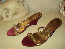 RED SATIN STRASS STRAPPY WEDGE SLINGBACK SANDALS*EU 38*US 7.5*UK 5