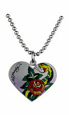 Authentic Ed Hardy Dog Tag heart shape with rose