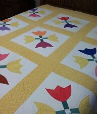 Vtg Tulip Completely Hand Stitched Flour Sack Quilt 84 X 76 Tiny Flowers Yellow