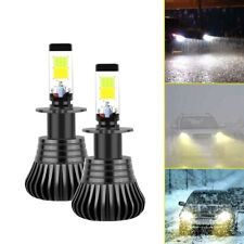 Pair H3 110W LED Fog Light Bulbs 6000K White 3000K Amber Dual Color Aluminum