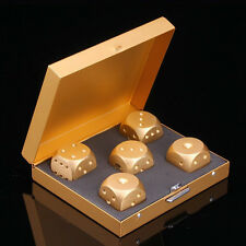 New 5pcs Aluminum Alloy Golden Square Dice for Role Play Games with Box