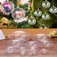 5-50pcs Clear Plastic Christmas Balls Baubles Sphere Fillable Xmas Tree Ornament