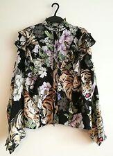 H&m trend floral and tiger patterned Frilled shirt UK size 6 EUR 32