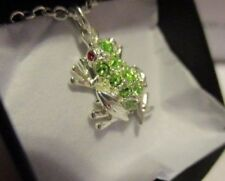 """Avon Good Luck Necklace Silvertone with Rhinestones 20"""" L Frog Positive Change"""