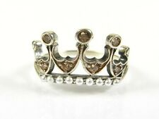 .25ctw Orange Stone Seed Pearl Victorian Deco Sterling Filigree Crown Ring 112a