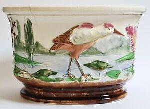 Planter Earthenware Slip Decor A Swamp Bird Orchies? Around 1900