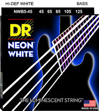 DR NWB5-45 5 string Hi-Def Neon White Coated Bass Guitar Strings 45-125 MED