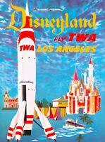 Anaheim Disneyland TWA Tomorrowland Rocket Vintage Travel Advertisement Poster