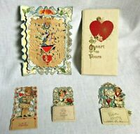 Lot of 4 Vintage 3D Pull out Valentines and Book My Memories to Yours 1900