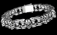 Gothic 925 Sterling Silver Men's Biker 80 Grams Motorcycle Chain Skull Bracelet