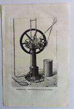 MACHINE A GAZ D'OTTO ET LANGEN GRAVURE Physique Sciences Industrie Arts XIXème