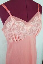Vintage Lingerie Lace Sheer Coral Beige Nighty Sexy Bedroom Wedding Teddy Sz 34