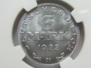 3 Mark 1922 D IN Brillant uncirculated NGC Top Pop MS66 Very Rare