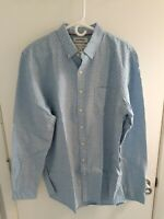 Mens Button Down Shirts Long Sleeve Oxford Blue with white polka dots Large New
