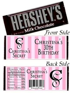 12 Victoria Secret Bridal Shower Birthday Party Hershey Candy Bar Wrappers Pink